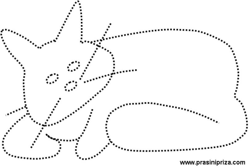 CAT - COLORING PAGES FOR KIDS. CONNECT THE DOTS.