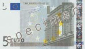 FIVE EURO NOTE. SPECIMEN FOR PRINTING.